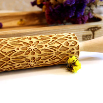 FLOWER Embossing Rolling Pin Laser Engraved, Embossed Dough Roller, FLORAL FOLK  Pattern, Christmas Gift, Personalized Rolling Pin, 5