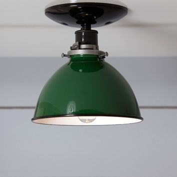 Green Metal Shade Light - Semi Flush Mount Lamp