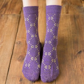 GUCCI Autumn and winter new fashion more letter print thick long sock women Purple