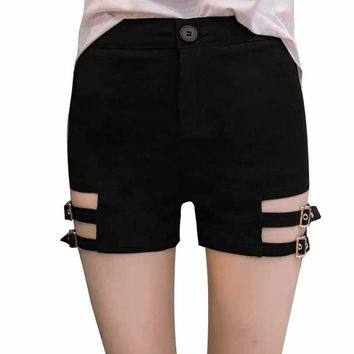 Hollow out Skinny Two Garter Belts Punk Shorts Sexy Women Black Elastic High Waist Hot Shorts for Goth Girls S M L XL