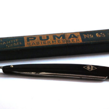 Puma Solingen No 63 3 8 Vintage Straight Razor, Shaving Knife Barber Knife, Retro Barber Tool, Black