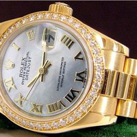 Rolex Lady Datejust President Gold Mother Pearl Roman Diamond 179138 WATCH CHEST