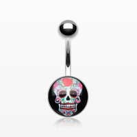 Sugar Skull Rosey Belly Button Ring