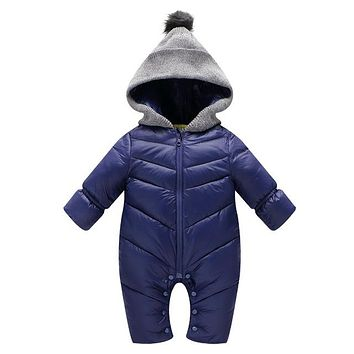 Newborn Baby Romper Winter Long Sleeve Cotton Baby Boy Hooded Jumpsuit Warm Kids Girl Clothes Infant Outwear