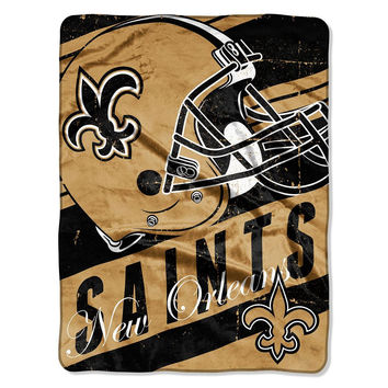 New Orleans Saints NFL Micro Raschel Blanket (Deep Slant Series) (46in x 60in)