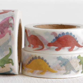 Dinosaur Washi Tape, Stegosaurus T Rex Brontosaurus Jurassic Party 15mm