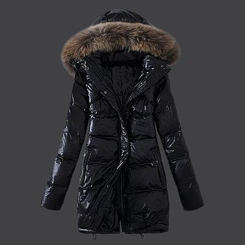 Korean Women Outerwear Long Winter Coats White Duck Down/Goose Down Jackets Fashion Maternity Thick Warm Parka Fox fur hooded 4X