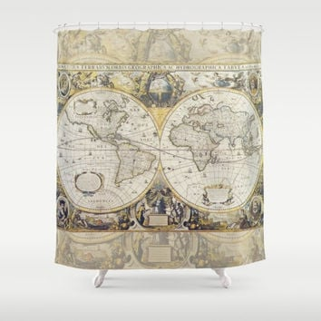 Antique World Map fabric Shower Curtain - Vintage map - travel Decor - gray, gold, beautiful, home  Bathroom - maps