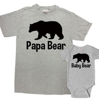 Father Daughter Matching Shirts Father And Son Gift Daddy And Baby Shirt Matching Family Outfits Papa Bear Baby Bear Bodysuit - SA187-616