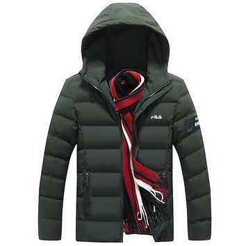 FILA 2018 winter trend men's warm hooded jacket cotton clothes green