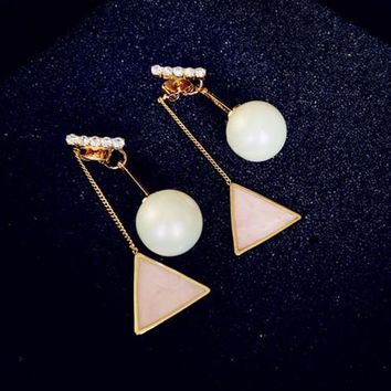 ES516 Simulated Pearls Drop Earrings Fashion Jewelry Long Tassel boucle d'oreille Women Dangle Brincos Triangle Bohemian