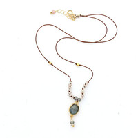 Iolite Bezeled Pendant w Natural Zircon and Gold Beads Knotted on Silk Cord, Fall Necklace, Minimalist Jewelry
