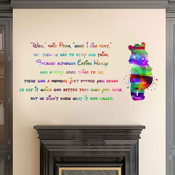 kcik2067 Full Color Wall decal Watercolor Character Disney Winnie the Pooh quote Sticker Disney children's room