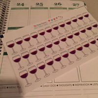 FREE SHIPPING E9 Wine girls night out drinks cocktails happy hour stickers for Erin Condren Life Planner/Plum Paper Planner - set of 36