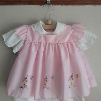 70's Vintage Butterfly 2-Piece Apron Dress, Size 6-12 Months -- Vintage Baby Clothes -- Vintage Baby Girl Dress -- Celanese Fortrel Brand