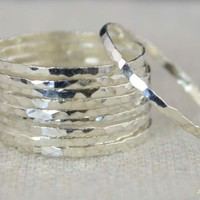 Set of 10 Super Thin Silver Stackable Rings