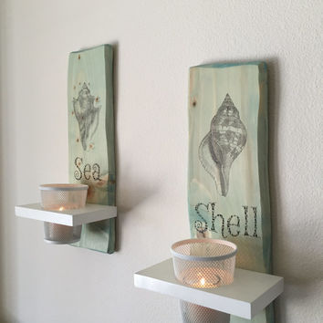 Candle Holder Wall Sconces / Ocean Sea Beach Themed / Solid Wood / Aqua & White Customizable