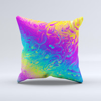 Neon Color Fushion V2  Ink-Fuzed Decorative Throw Pillow
