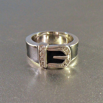 Enamel Diamond Buckle Ring, Rhodium Silver, Size 7