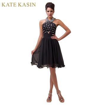 Halter Beading Knee Length Short Cocktail Dress Chiffon Coctail Gown Formal Dresses Party Prom Dress Black Cocktailkleid 6018