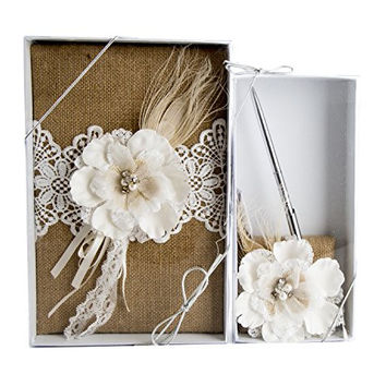 Maven Gifts: Lillian Rose Wedding Ceremony Burlap and Lace Guest Book with Lillian Rose Burlap and Lace Pen Set