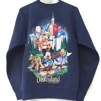 Vintage Disneyland Sweatshirt, 90s Disney Sweatshirt, Navy Blue Crew Neck Sweatshirt, Disneyland Castle, Disneyland Resort, Mickey Mouse S