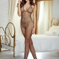 Metallic Fishnet Halter Crotchless Bodystocking