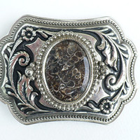 15 Percent Off Vintage Silver Plated South Western Belt Buckle with Fossilized Semi-Precious Insert