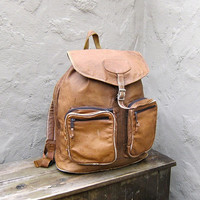 $85.00 Vintage Distressed Tan Leather Rucksack Backpack by Trustfund21