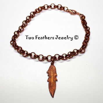 Copper Feather Anklet - Copper Chain Anklet - Solid Copper Anklet - Boho - Tribal - Charm Anklet - Ankle Bracelet - Gift For Her