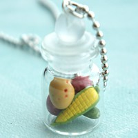 Mixed Vegetables in a Jar Necklace