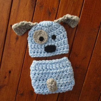 Baby Puppy Dog Light Blue Outfit Newborn Boy Photo Prop