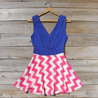 Firecracker Chevron Dress in Blue