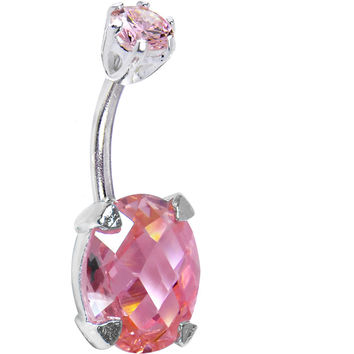 Sterling Silver 925 Pink Cubic Zirconia Regal Round Solitaire Belly Ring