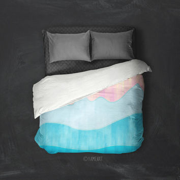 Duvet Cover, abstract bedding, blue bedding, mountain duvet cover, Bedding, Home Interior Decoration
