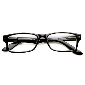 Casual Fashion Horned Rim Rectangular Frame Clear Lens Eye Glasses