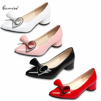 Sweet Summer Candy Color Women Low Heels Shoes Gamiss Fashionable Lady Pointed Toe Bowknot PU Leather Low Heel Shoes For Women