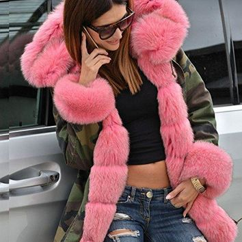 Wild Thoughts Pink Faux Fur Lined Army Jacket
