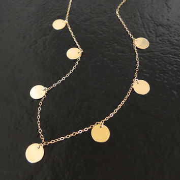Round Disc, Coin Drop Necklace In Gold Filled - Floating Dots - As Seen on Mackenzie, (The Newsroom)