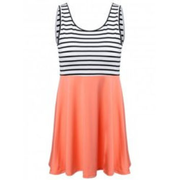 Striped Trim Summer Dress