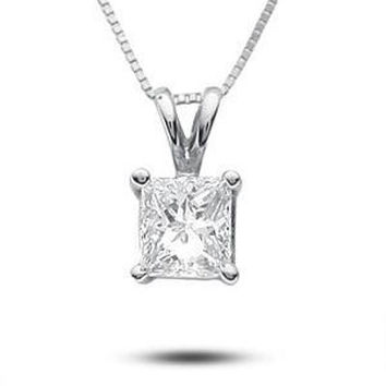 1/2 CT. Princess-Cut Diamond Solitaire Pendant in Platinum (H-I/SI1-SI2) - Save on Select Styles - Zales