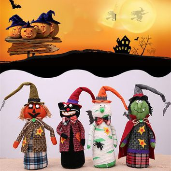 Halloween funny long hat doll plush ornaments mummy pumpkin witch black cat party decoration supplies children gifts