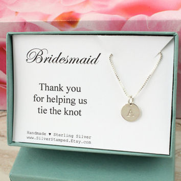 Thank You Gift For Bridesmaid Personalized Sterling Silver Initial Necklace Box