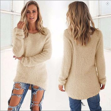 Women Spring Autumn Fashion 2016 High Elastic Casual Turtleneck Mink Cashmere Sweater Slim Tight Bottoming Knitted Pullovers