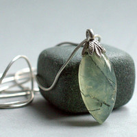 Prehnite pendant marquise shape green gemstone with solid silver bail and necklace