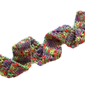 NEW !!! Neon and Gray Child / Youth Scarf - with a subtle zig zag design