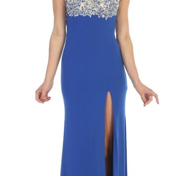 Sexy Floor Length Formal Gown Royal Blue Front Slit Open Back