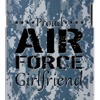 Proud Air Force Girlfriend Digital Blue Camo Military Camouflage Samsung Galaxy S5, S 5 Quality PVC Hard Plastic Snap On Case for Samsung Galaxy S5, S 5 - AT&T Sprint Verizon - White Case