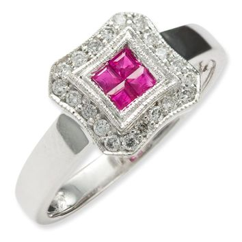 14k White Gold Square Design Ruby & Diamond Ring