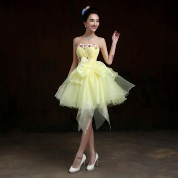 Free shipping,color rose flowers beading strapless pleat large bow women above knee mini ball gown short Cocktail Dresses